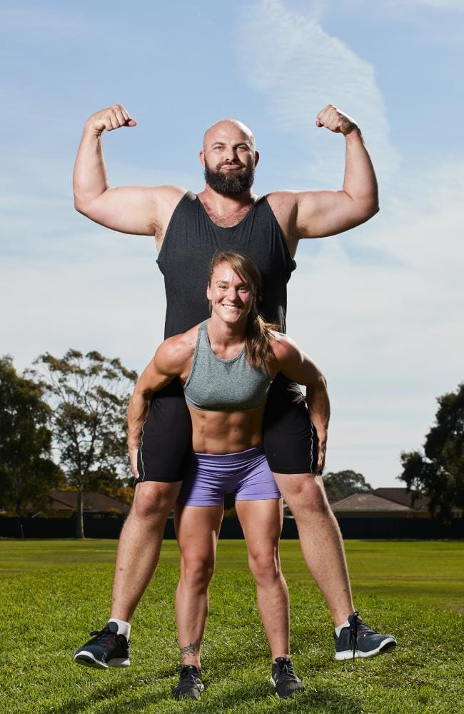 Long and short of it … Rasmus Atler and Celeste Dixon will be at the Fitness Expo. Picture: MATT LOXTON